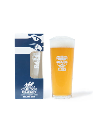 Carlton Draught &  Geelong Cats AFL 425ml Boxed Glass