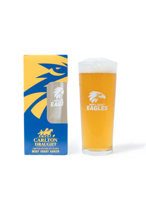 Carlton Draught &  West Coast Eagles AFL 425ml Boxed Glass