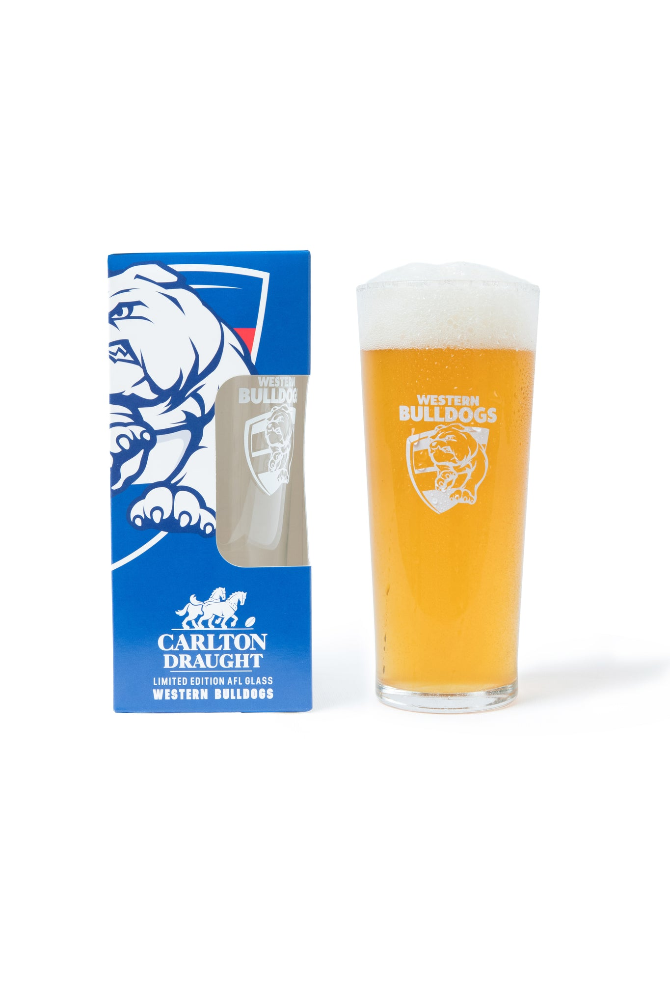 Carlton Draught & Western Bulldogs AFL 425ml Boxed Glass