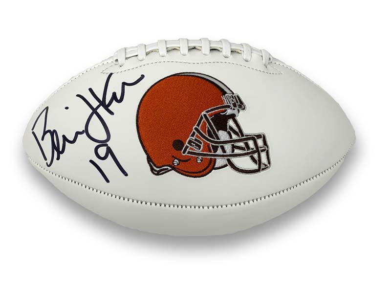 Bernie Kosar Signed Cleveland Browns White Logo Football