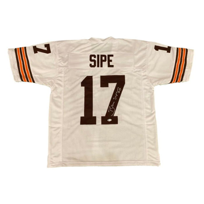 Brian Sipe Signed White Football Jersey