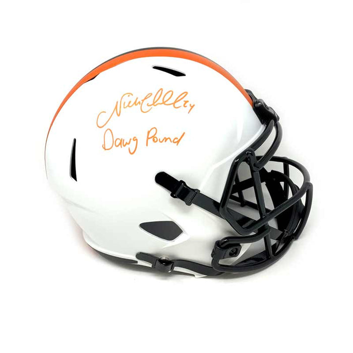 Nick Chubb Signed Lunar Eclipse Full Size Replica Helmet with Dawg Pound