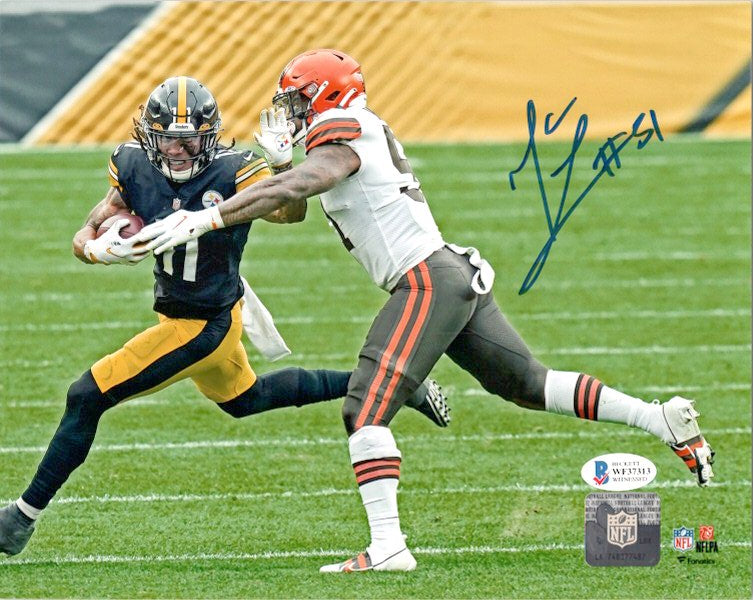 Mack Wilson Signed Tackling Steelers in White 8x10 Photo