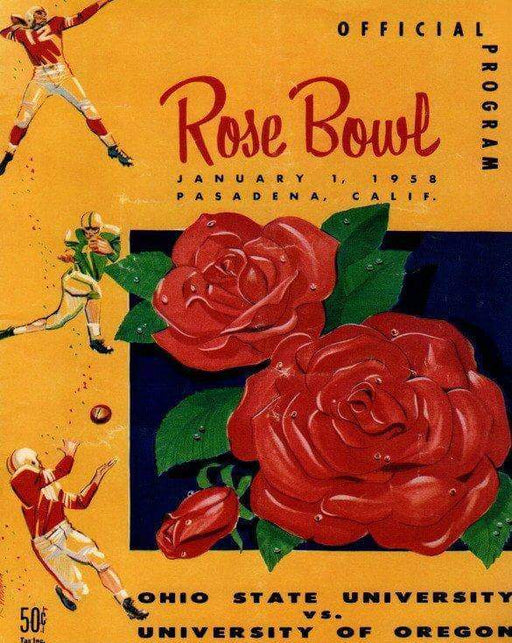 Rose Bowl poster 1958 OSU vs Oregon Unsigned 8x10 Photo