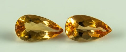 Imperial Topaz Pair Pear Orange Peach Brazil Unheated Untreated Natural Eyeclean 3.55 ct