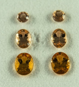 Imperial Topaz Set Round Oval Brazil Unheated Natural Rose Peach Pair Eyeclean 4.87 ct