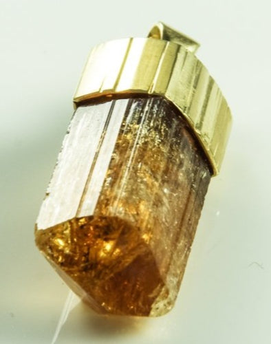 Imperial Topaz Crystal Pendant Brazil Natural 18K Gold 33Mm 15 5Grams