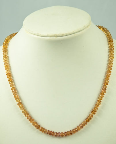 Imperial Topaz Beads Necklace Handmade Natural 14Kt Goldclasp Silk Knotbyknot 46 Cm 135 Ct