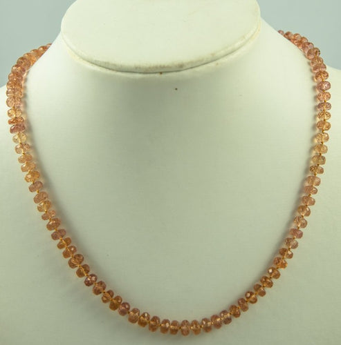 Imperial Topaz Beads Necklace Handmade Natural 18Kt Goldclasp Silk Knotbyknot 44 Cm 130 Ct