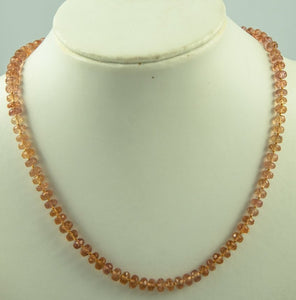 Imperial Topaz Beads Necklace Handmade Natural 18Kt Goldclasp Silk Knotbyknot 44 cm 130 ctt
