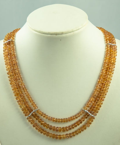 Imperial Topaz Beads Necklace Handmade Natural 925 Sterlingsilver Rhodanised Silk Knotbyknot 46 cm 450 ct