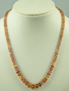 Imperial Topaz Beads Necklace Handmade Natural 14Kt Goldclasp Silk Knotbyknot 48 cm 150 Ct