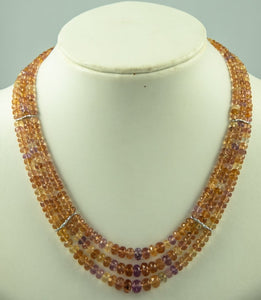 Imperial Topaz Beads Necklace Handmade Natural 925 Sterlingsilver Rhodanised Silk Knotbyknot 41 Cm 275 Ct
