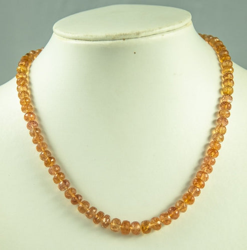 Imperial Topaz Beads Necklace Handmade Natural 925Ag 42Cm 170Ct