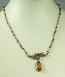 Necklace Imperial Topaz Salmon Peach Intense 7 ct 15 Imperialtopazs 4 ct Red And Whitegold 12G 43Cm