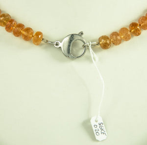 Imperial Topaz Beads Necklace Handmade Natural 925Ag 43Cm 290Ct