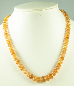 Imperial Topaz Beads Necklace Handmade Natural 925Ag 44Cm 205Ct