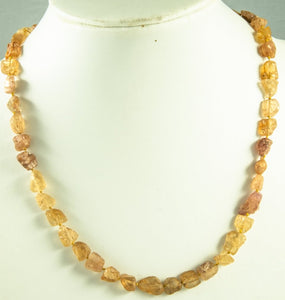 Imperial Topaz Beads Necklace Handmade Natural Fromtheriver 925Ag 48Cm