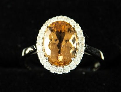 Ring 18Kt Whitegold 4 5G Size 54 Imperial Topaz 3 5Ct Diamonds 0 32Ct