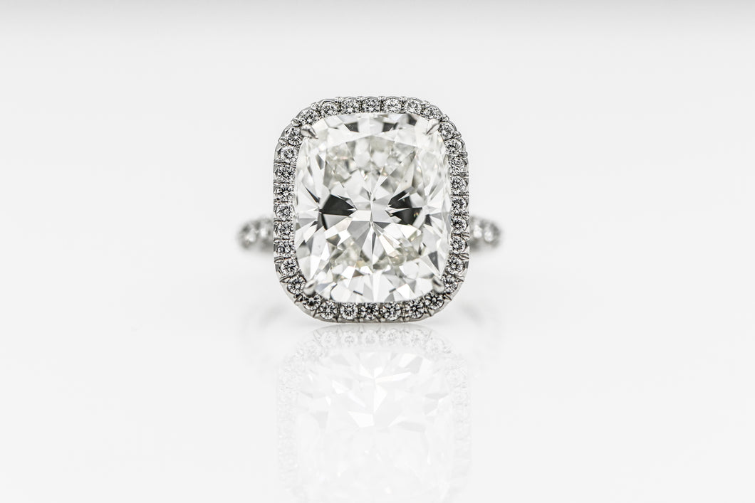 Cushion-Cut 10.02 Carats | Platinum Band with Micro Pave Engagement Ring