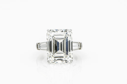Emerald-Cut 12.55 | Platinum Band Engagement Ring