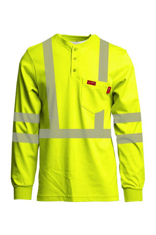 LAPCO FR Hi-Viz Henley Shirts | 7oz. Inherent Blend | Class 3