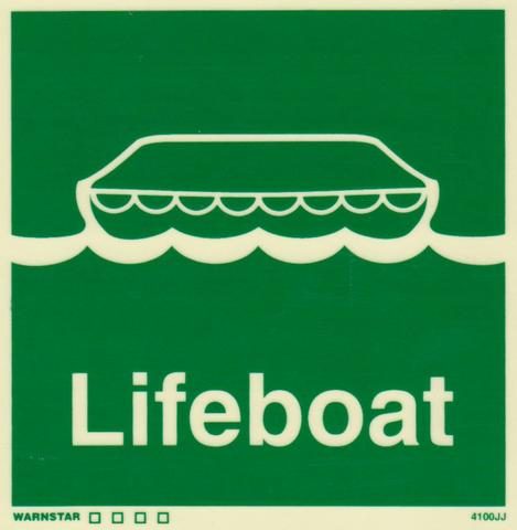 Marine Safety Sign, IMO Life Saving App. Symbol: Lifeboat - With Text