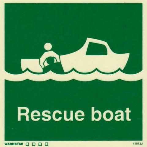 Marine Safety Sign, IMO Life Saving App. Symbol: Rescue Boat - With Text