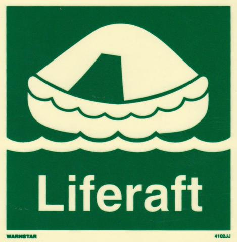 Marine Safety Sign, IMO Life Saving App. Symbol: Liferaft - With Text
