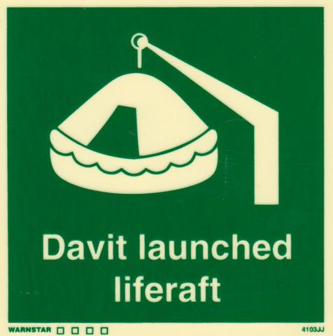 Marine Safety Sign, IMO Life Saving App. Symbol: Davit Launched Liferaft - With Text