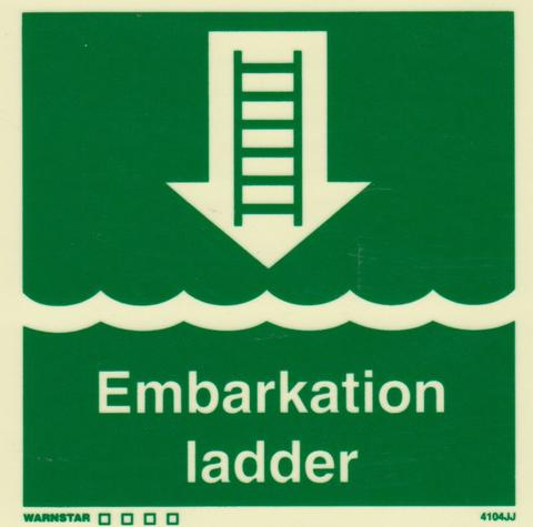 Marine Safety Sign, IMO Life Saving App. Symbol: Embarkation Ladder - With Text