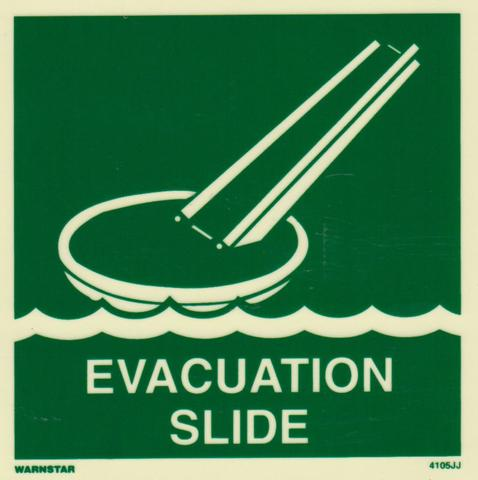 Marine Safety Sign, IMO Life Saving App. Symbol: Evacuation Slide - With Text