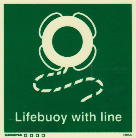 Marine Safety Sign, IMO Life Saving App. Symbol: Lifebuoy With Line - With Text