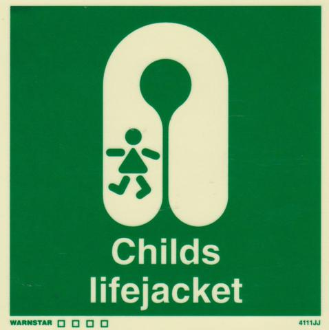 Marine Safety Sign, IMO Life Saving App. Symbol: Child's Lifejacket - With Text