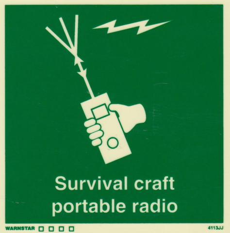 Marine Safety Sign, IMO Life Saving App. Symbol: Survival Craft Portable Radio - With Text