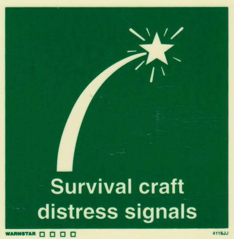 Marine Safety Sign, IMO Life Saving App. Symbol: Survival Craft Distress Signals - With Text