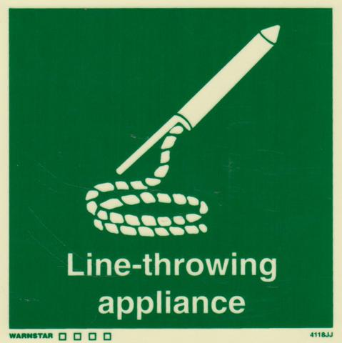 Marine Safety Sign, IMO Life Saving App. Symbol: Line-Throwing Appliance - With Text