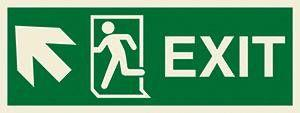 Marine Direction Sign: EXIT + Running man symbol + Arrow diagonally up left