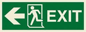 Marine Direction Sign: EXIT + Running man symbol + Arrow left