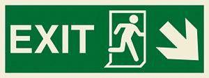 Marine Direction Sign: EXIT + Running man symbol + Arrow diagonally down right