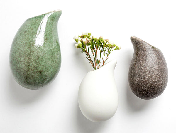 Sea Green Droplet Wall Vase L