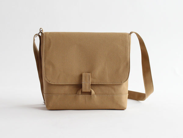 Brown Canvas Shoulder Bag L