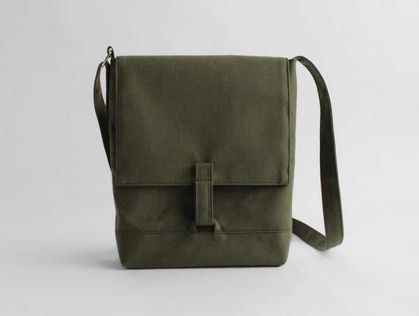 Green Canvas Shoulder Bag B5