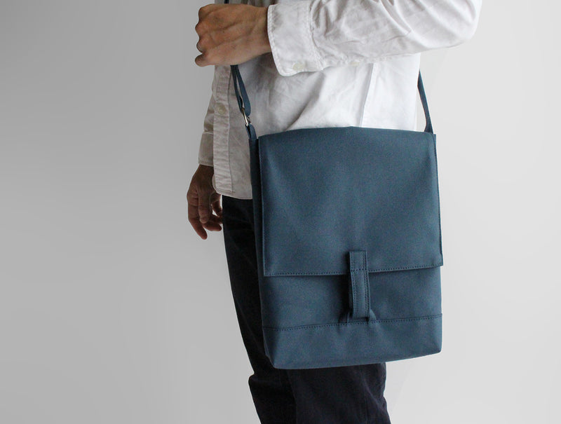 Blue Canvas Shoulder Bag B5