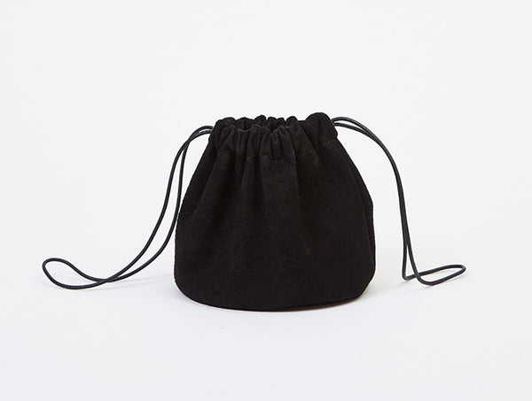 Black Suede Drawstring Pouch