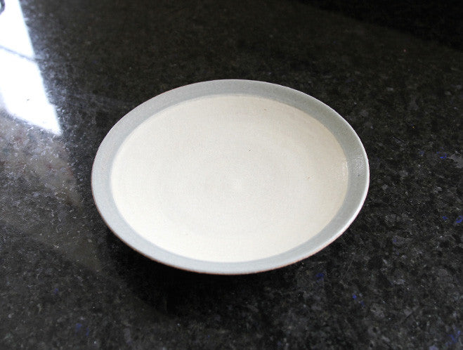 White Blue Edged Plate by Inima Pottery at OEN Shop