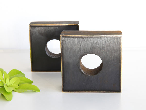 Square Brass Bookends