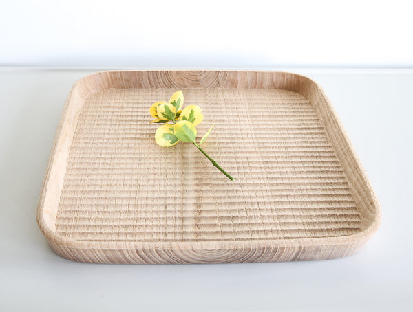 Square Chestnut Carved Dish