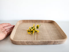 Square Chestnut Carved Dish by Keiichi Sakai at OEN Shop