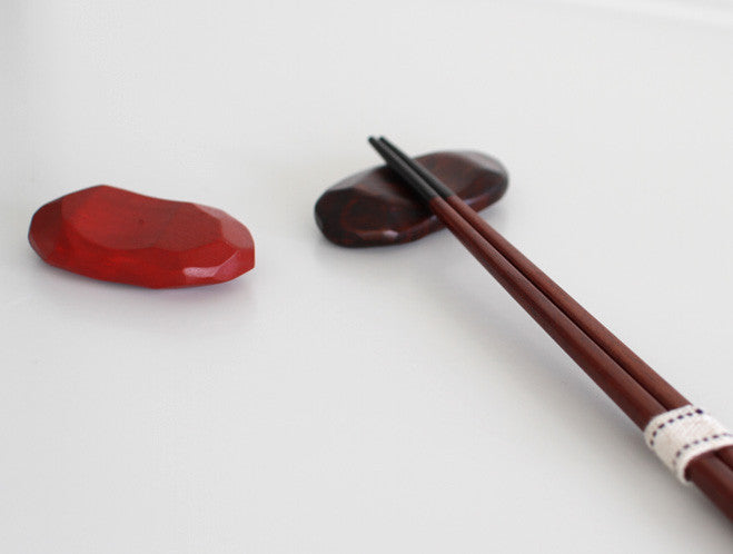 Red Pebble Chopstick Rest by Maiko Okuno at OEN Shop
